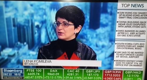 Lena Komileva speaking to Bloomberg TV, Investment consultancy, Financial advisory, Independent economic research, market economics, Macro market risk advisory, Lena Komileva, G Plus Economics, Top UK